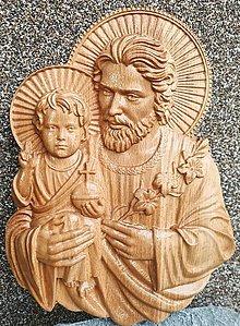 Dekorácie - Drevorezba Sv. Jozef  (300 x 190 x 35 mm) - 13646004_