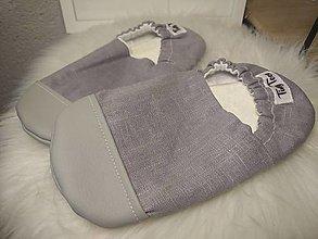 Detské topánky - Capačky šedé ľanové plátno 6-7 rokov - 13648512_