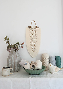 Dekorácie - Makramé pletený list (Prírodná biela) - 13646659_