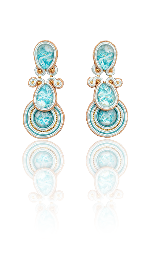 Dotyk oceánu Handmade soutache náušnice - autorské šperky LEKIDA