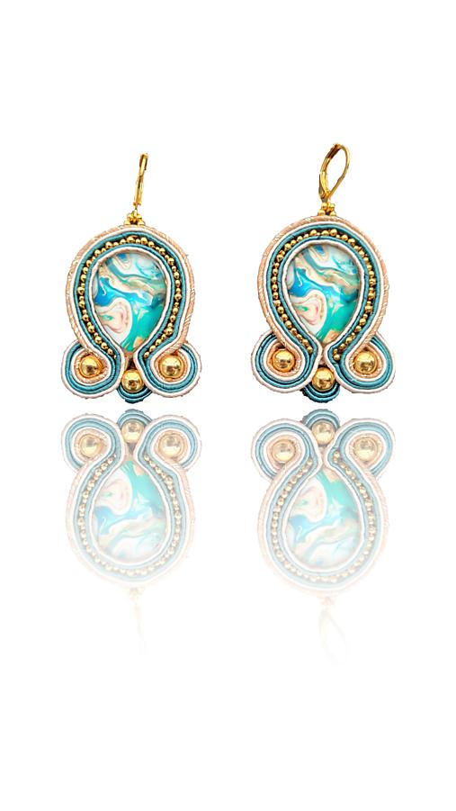 Morské pohladenie handmade soutache náušnice - autorské šperky LEKIDA