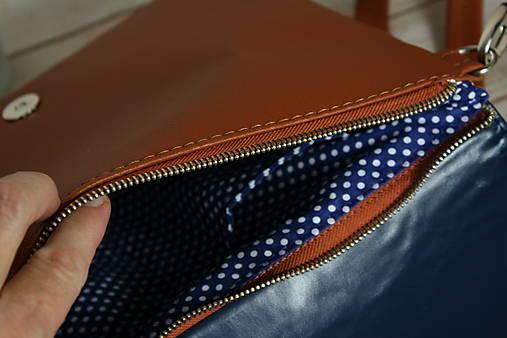 modrotlačová kabelka Petra hrdzavá 1