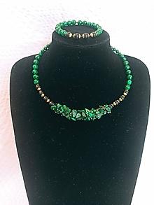 Sady šperkov - Sada luxusná/Malachit & Onyx - 13649898_
