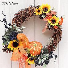 Dekorácie - Jesenný veniec s tekvičkami - 13649907_