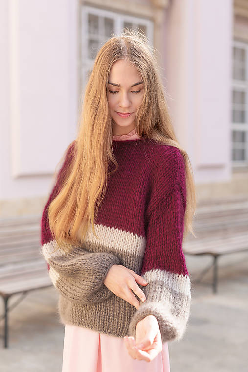 Svetre/Pulóvre - Oversized mohérový pulover- mohér, hodváb - 13651470_