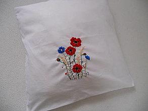 Úžitkový textil - Leto, maky a nevädze (ručne vyšívaný vankúš) - 13651520_
