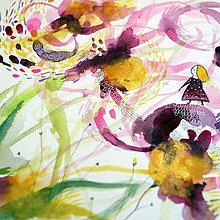 Kresby - Posledné pavučinky/ originál akvarel - 13652193_