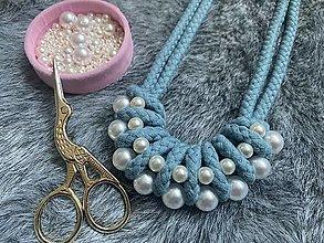 Náhrdelníky - Baby blue s perličkami - 13651145_