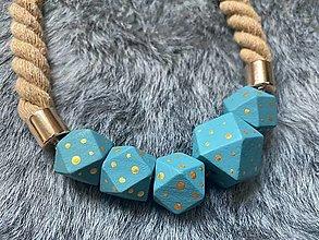 Náhrdelníky - Modré korále na laně - 13651172_