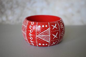 Náramky - Ručne maľovaný drevený náramok - červený - 13651292_
