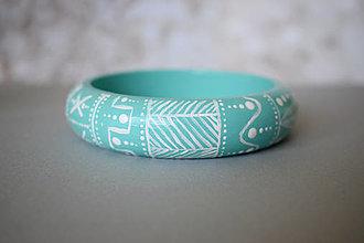 Náramky - Ručne maľovaný drevený náramok - mentolový - 13651302_