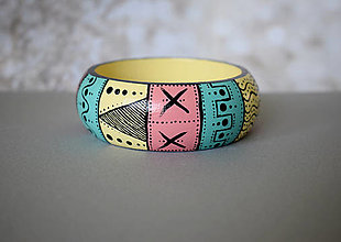 Náramky - Ručne maľovaný drevený náramok - pastelový - 13651332_