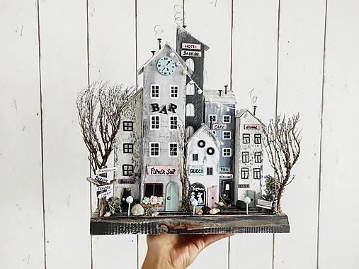 Dekorácie - Vintage domčeky ,,Šedé mesto,, - 13655435_