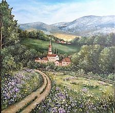 Obrazy - Lúka za dedinou... - 13655540_