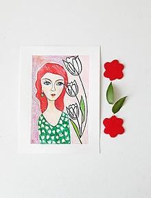 Obrázky - Dievča s tulipánmi, 18 x 24 cm, akvarel - 13653503_