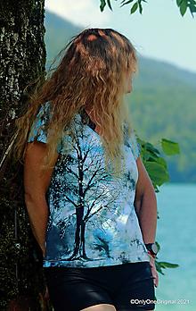 Tričká - Dámske tričko batikované, maľované SOLITÉR ♀ - 13655087_