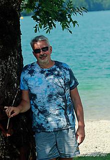 Tričká - Pánske tričko, batikované, maľované SOLITÉR ♂ - 13655113_