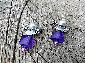 Náušnice - Náušničky angel fialové - 13655224_