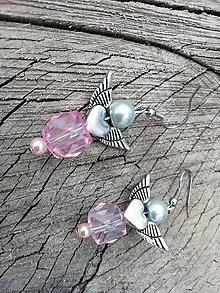 Náušnice - Náušničky angel ružové - 13655240_