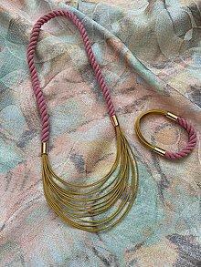 Sady šperkov - Lanový set - růžová a hořčicová - 13653385_