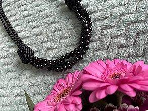 Náhrdelníky - Perlový náhrdelník - černý - 13653443_