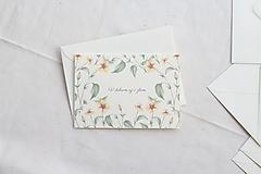 Papiernictvo - Svadobná pohľadnica V dobrom | akvarelová botanická ilustrácia Abutilon indicum - 13653409_
