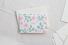 Papiernictvo - Svadobná pohľadnica A žili šťastne | akvarelová botanická ilustrácia ruže - 13653414_