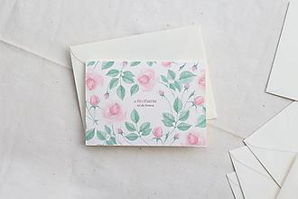 Papiernictvo - Svadobná pohľadnica A žili šťastne   akvarelová botanická ilustrácia ruže - 13653414_