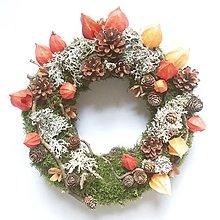 Dekorácie - Jesenný prírodný veniec - 13654034_