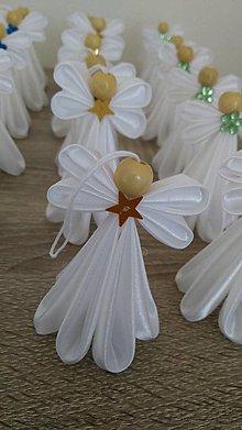Dekorácie - Biely anjelik (So zlatým) - 13655348_