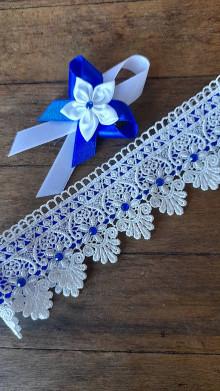 Bielizeň/Plavky - Svadobný podväzok ivory -kráľovská modrá II. - 13656350_