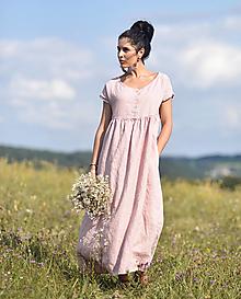 Šaty - Lněné maxišaty se zapínáním Pudrové - 13656088_