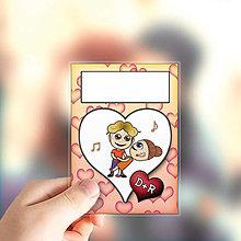 Papiernictvo - (nielen)Valentínske míľnikové kartičky srdiečkové - 13655763_