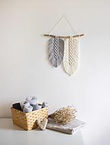 """Dekorácie - makramé listy """"minimalizmus"""" (šedo-biela) - 13656997_"""