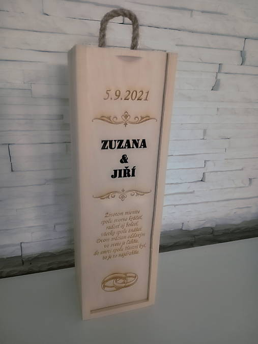 Svadobná gravirovana krabica na víno - svadobný dar