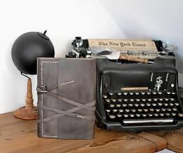 Papiernictvo - kombinovaný kožený zápisník BRYNJA - 13656824_