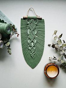 Dekorácie - Makramé pletený list (Eukalyptová) - 13657573_