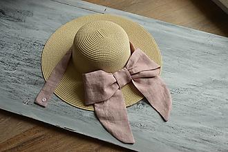 Čiapky - Dámsky letný klobúk slamený s odopínateľnou mašlou -ľan - 13659476_