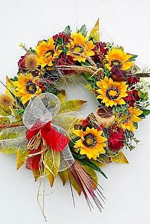 Dekorácie - Jesenný veniec- pestrofarebná jeseň - 13657146_