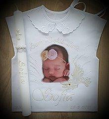 Detské oblečenie - Košieľky na krst s fotkou+sviečka - 13657732_