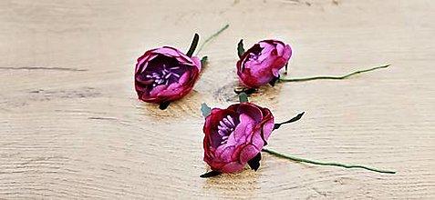 Polotovary - Ozdobná aplikácia kvietok Pivonka (Rose Red) - 13659792_