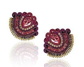 Náušnice - Fialovo-ružové šujtášové náušnice so Swarovski krištáľmi Dobrava - 13661046_