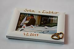 Rámiky - Biely svadobný fotorámik - lišta 3 cm - 13659860_