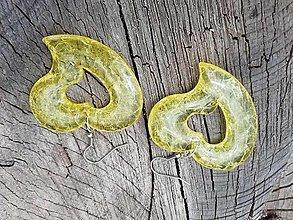 Náušnice - Náušnice srdiečka veľké ,trblietavé,žlté - 13660328_