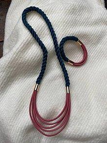 Sady šperkov - Lanový set - petrolejová a pudrová - 13661498_