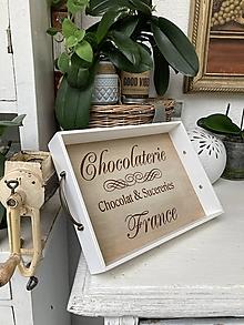 """Nádoby - Tácka """" Chocolaterie """" biela - 13663665_"""