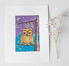Obrázky - Sova -Vianoce, 18 x 24 cm, kombinovaná technika - 13662773_