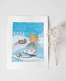 Obrázky - Anjelik - Vianoce, 18 x 24 cm, komb.technika - 13662789_