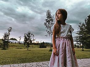 Detské oblečenie - Hrdlička - dievčenská točivá ľanová sukňa - 13663369_