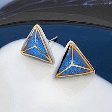 Náušnice - Modré trojuholníky. - 13663104_